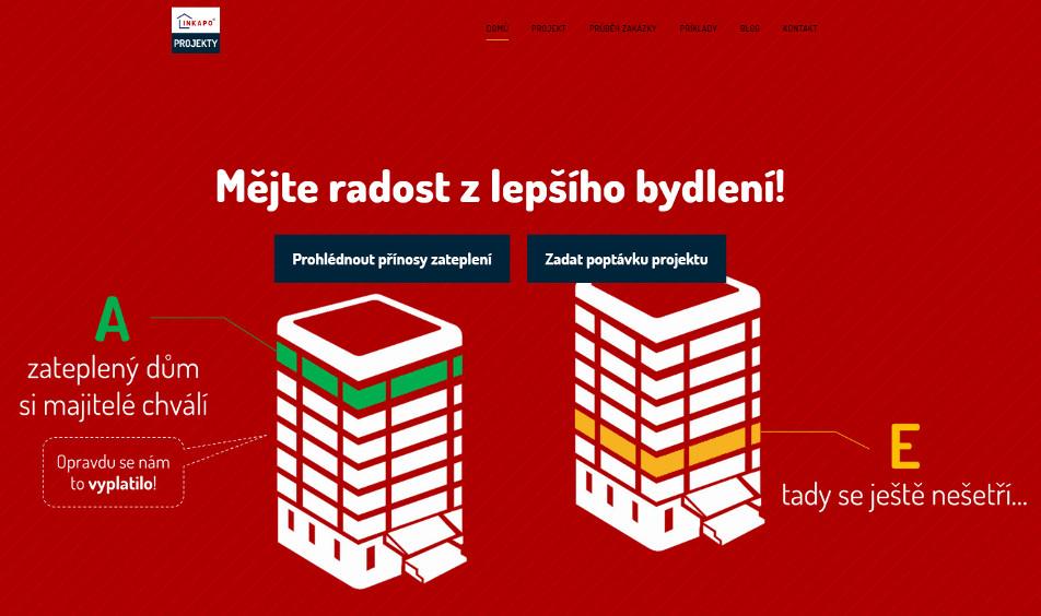 Příklad využití červené na pozadí titulní stránky webu.