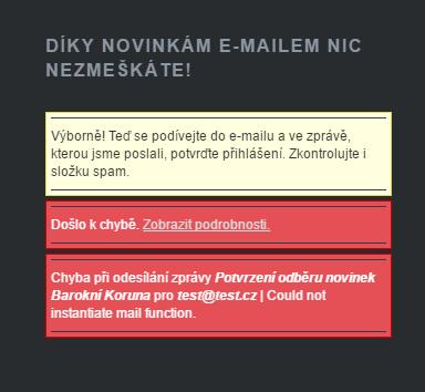 Chybová hláška při pokusu o registrace do e-mailu