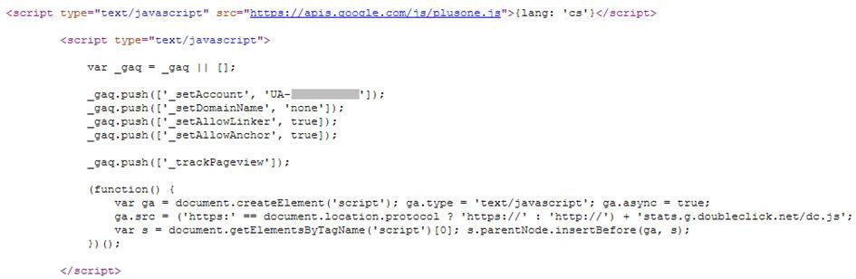 Sledovací/měřicí kód Google Analytics v kódu internetové stránky