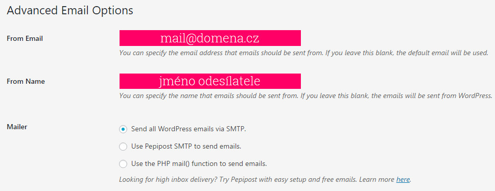 V prvním formuláři se vyplní e-mailová adresa a jméno odesílatele