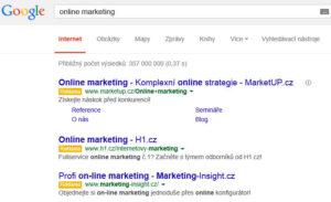 PPC reklama ve vyhledávání -- příklad inzerátů Google AdWords