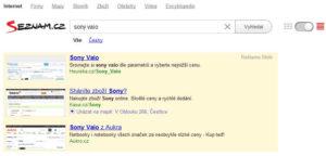 PPC reklama ve vyhledávání - příklad Seznam Sklik