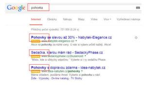 Příklad PPC reklamy ve vyhledávání - inzeráty zobrazené na výraz pohovka