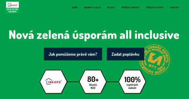 Firemní web o dotačním programu Nová zelená úsporám