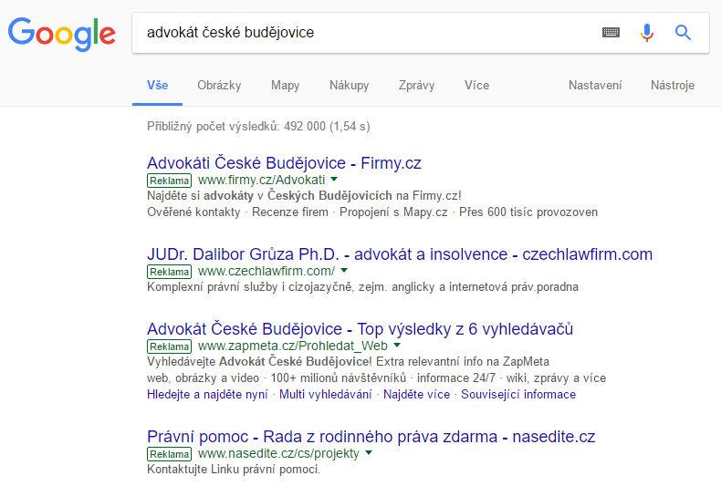 Příklad PPC reklamy (vyhledávání na Googlu)