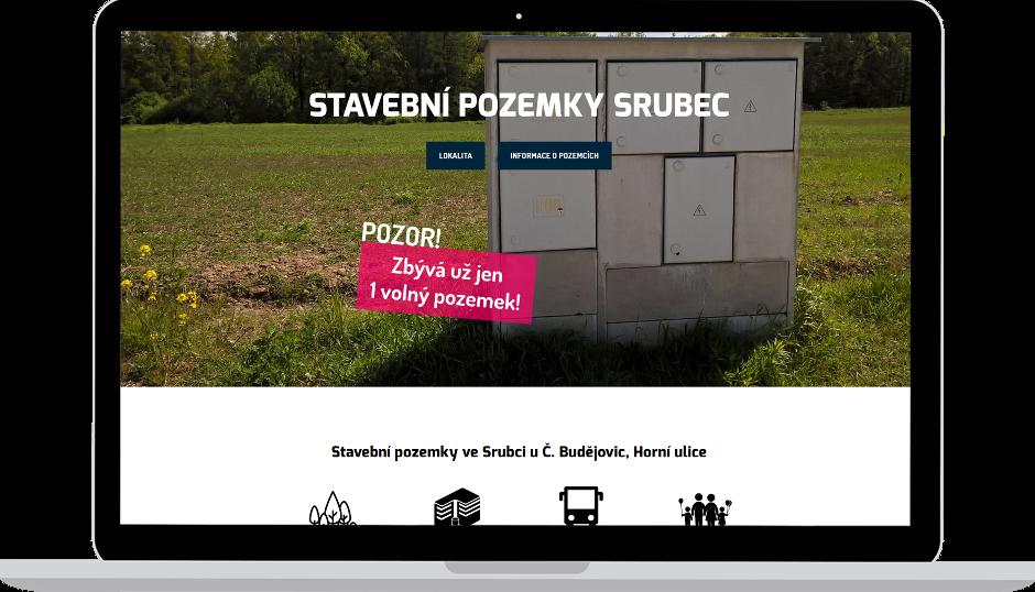 Tvorba webu o stavebních pozemcích Bydlení Srubec