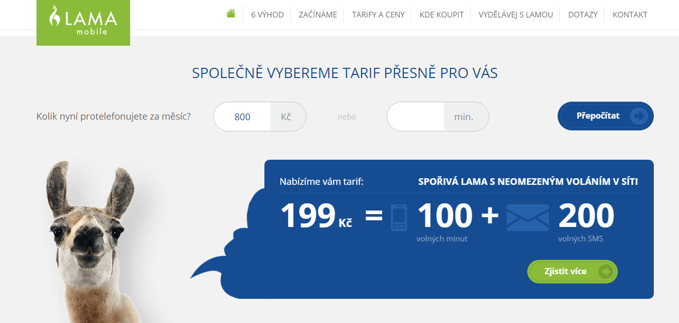 Copywriting redesignu webu Lama Mobile