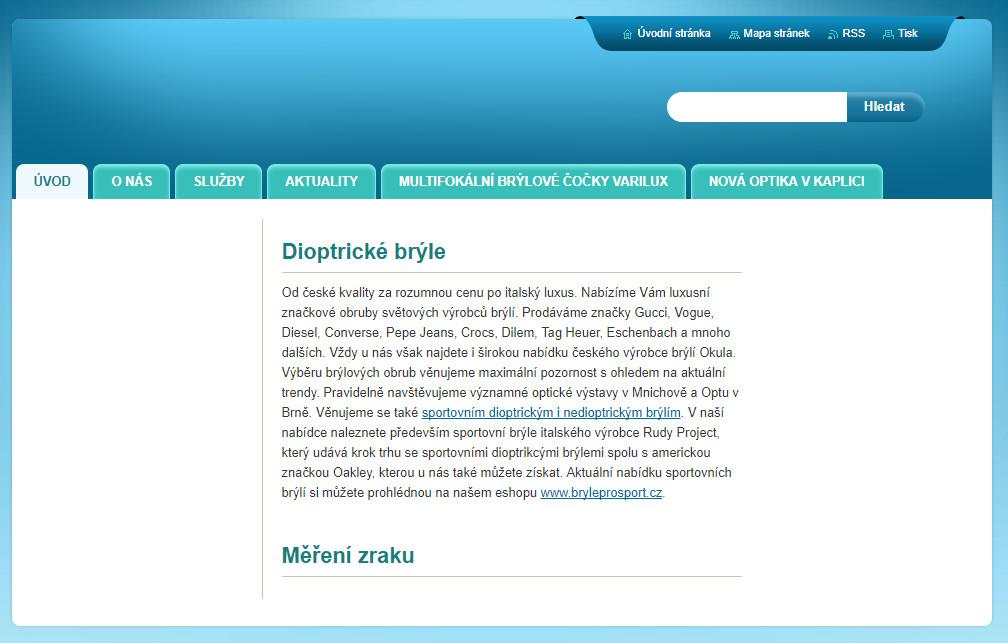 Takhle vypadala původní verze webu, kterým se Optika Bartoňová prezentovala