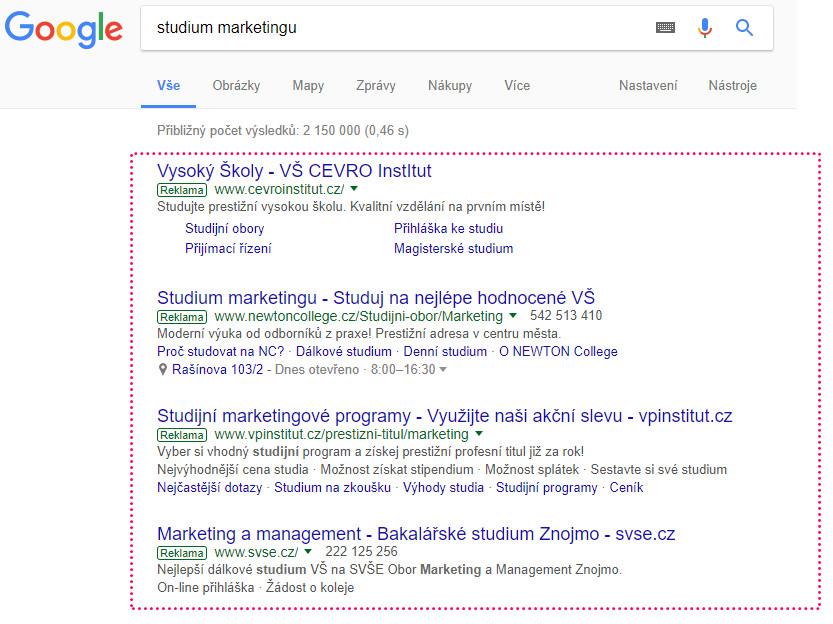 Reklama na internetu - ve vyhledávání na Google