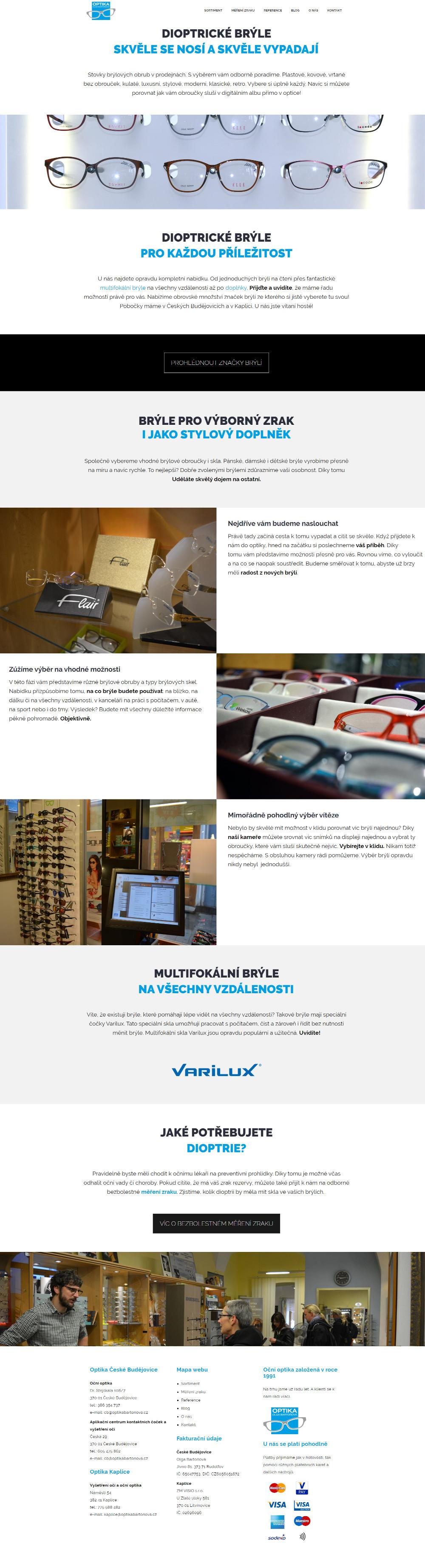Ukázka sekce Dioptrické brýle