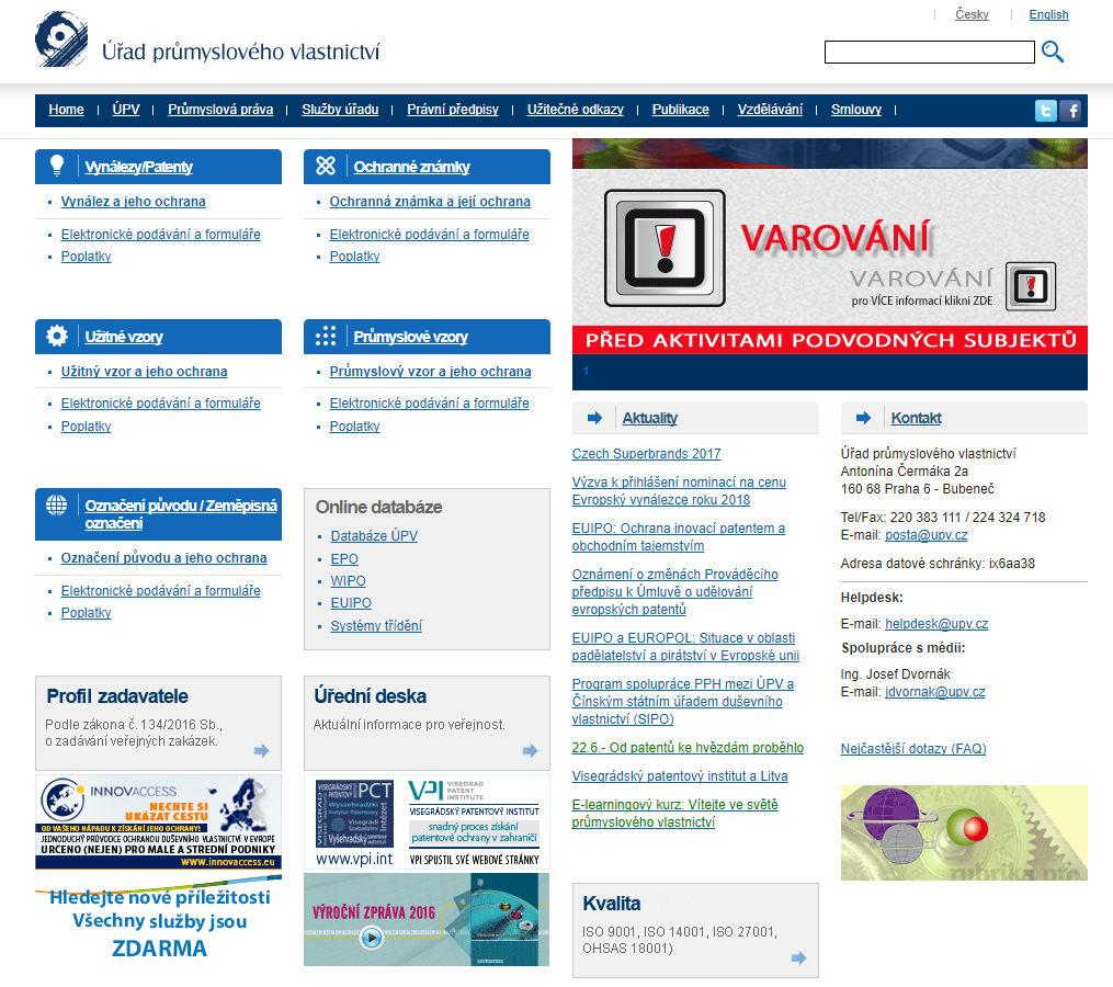 Na stránkách úřadu průmyslového vlastnictví lze provádět rešerši i registraci své ochranné známky.