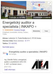 Příklad, jak vypadá firemní zápis vedle výsledků vyhledávání na Googlu
