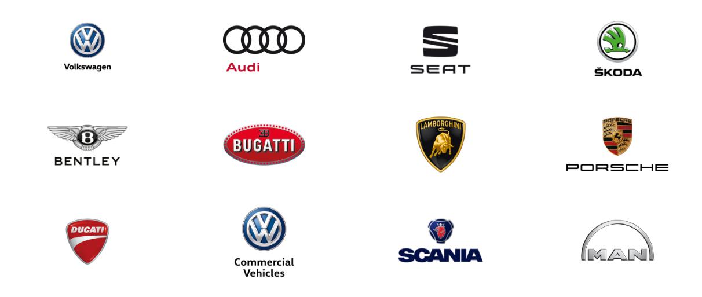 Loga značek koncernu Volkswagen. Každá z nich má jinou konkurenční pozici i roli.