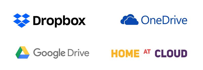Příklady cloudových úložišť: Dropbox, OneDrive, Google Drive a Home at Cloud Drive