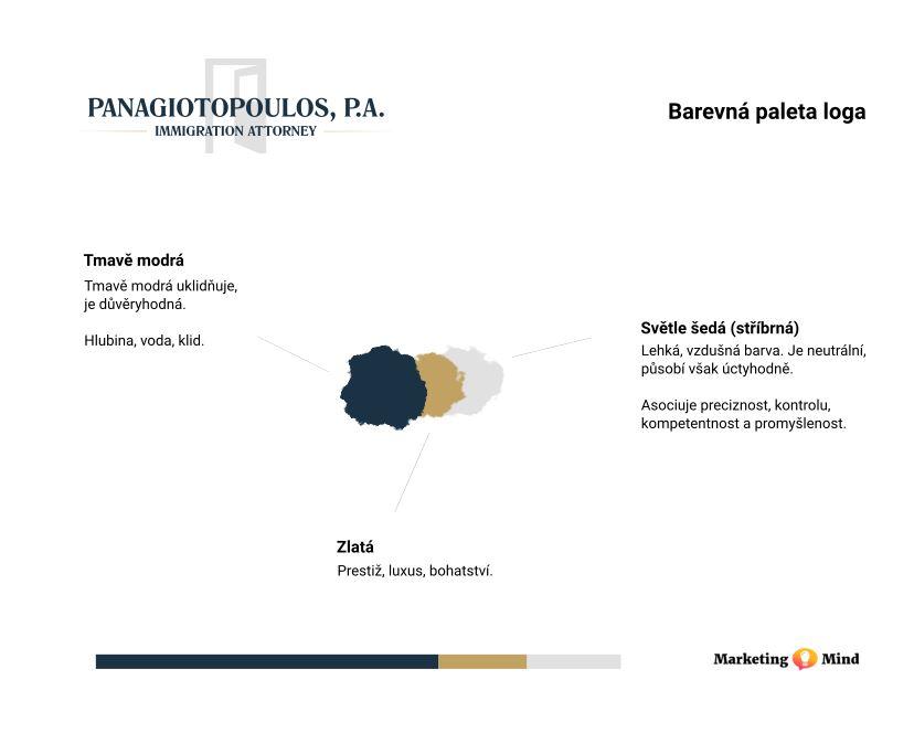 Barevná paleta pro tvorbu firemního loga advokátní kanceláře v USA