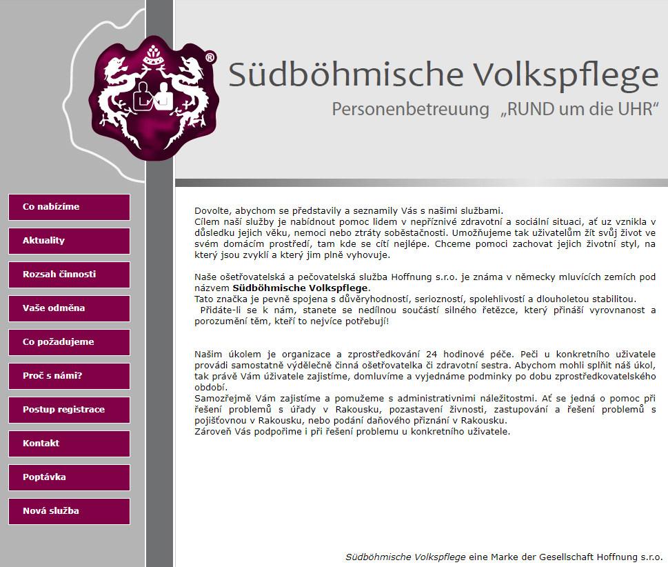 Původní vzhled webu Hoffnung.cz