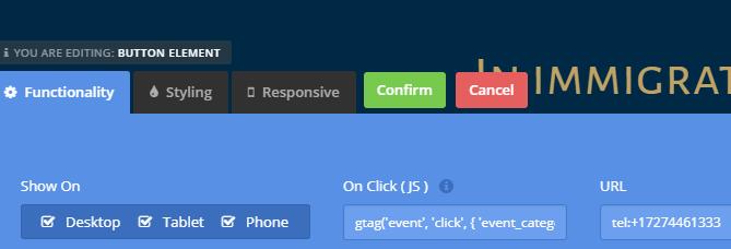 """Přidání kódu do políčka """"On Click"""" - zde v builderu, který doprovází šablonu West."""
