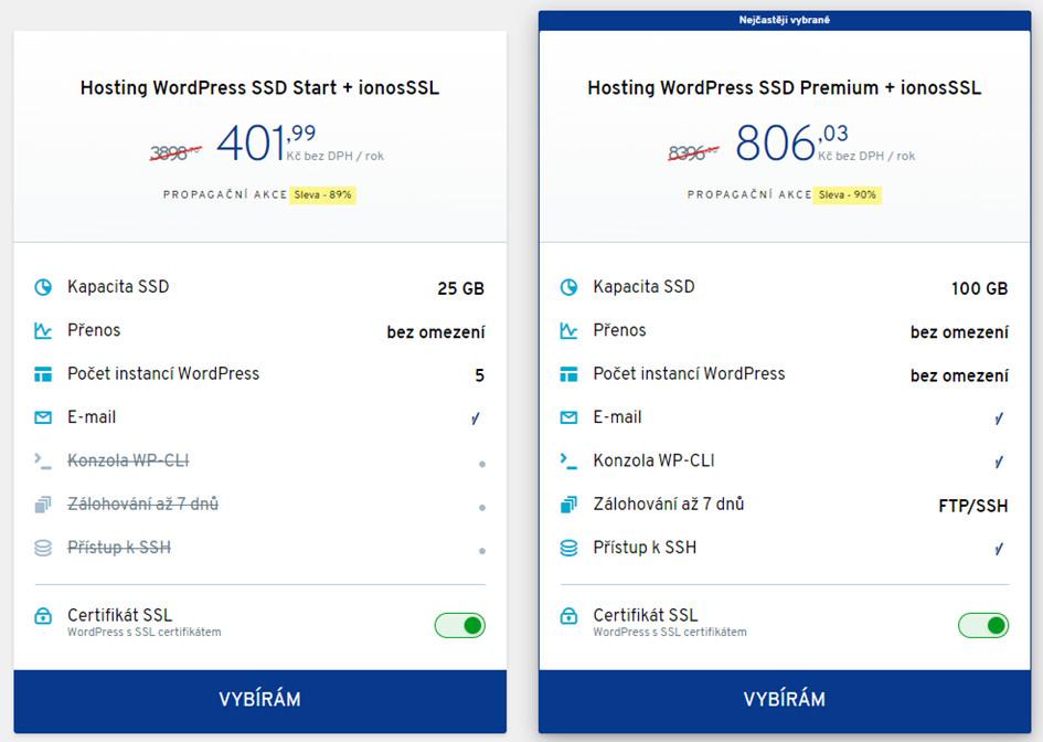 Porovnání cen za WordPress hosting - balíčky Ionos